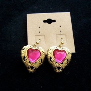 Gold & Pink Crystal Heart Earrings Vintage 80's